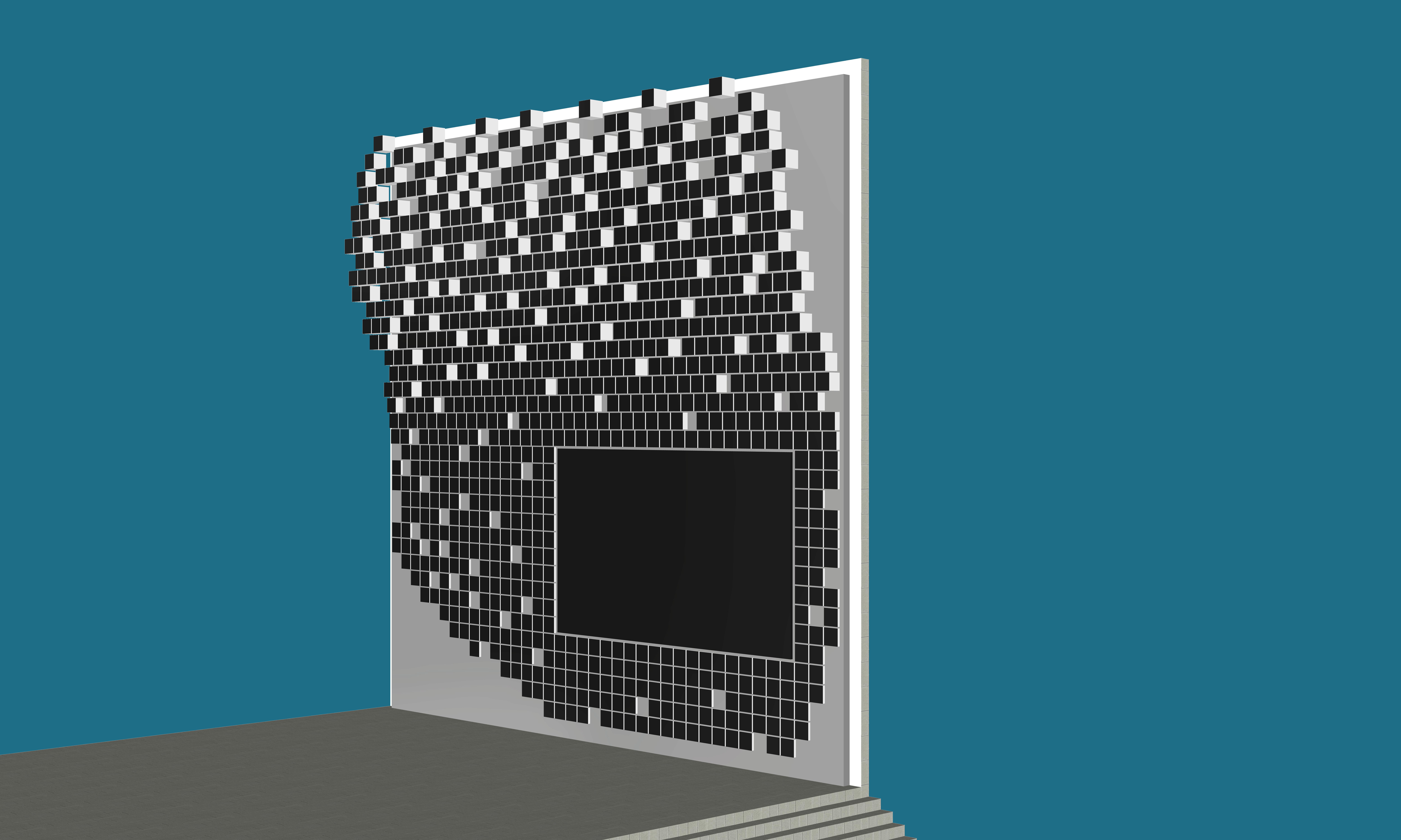 Entwurfs-Ansicht einer neuen LED-Videoinstallation in der Perspektive